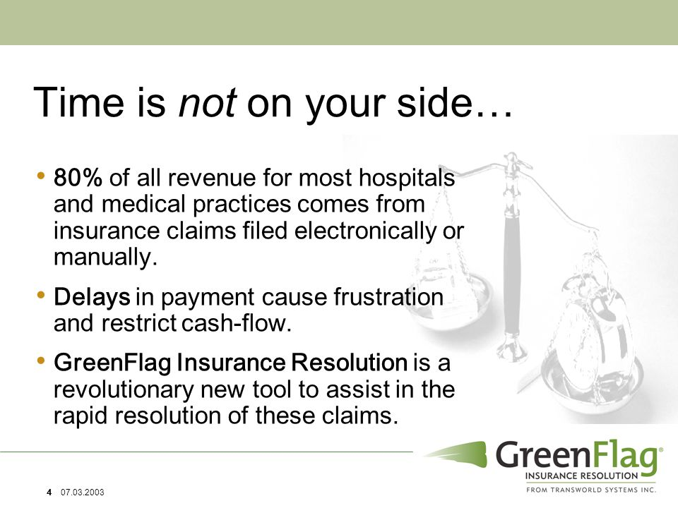 4 07.03.2003 Time is not on your side… 80% of all revenue for most hospitals and medical practices comes from insurance claims filed electronically or manually.