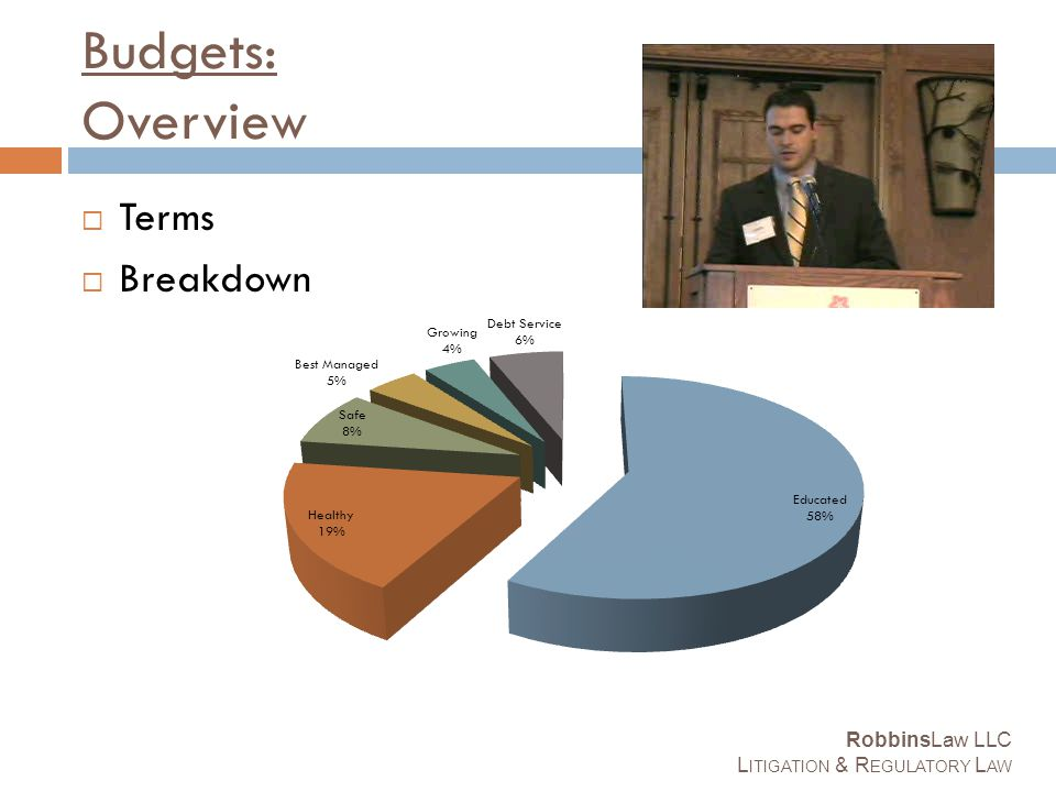 Budgets: Overview  Terms  Breakdown RobbinsLaw LLC L ITIGATION & R EGULATORY L AW