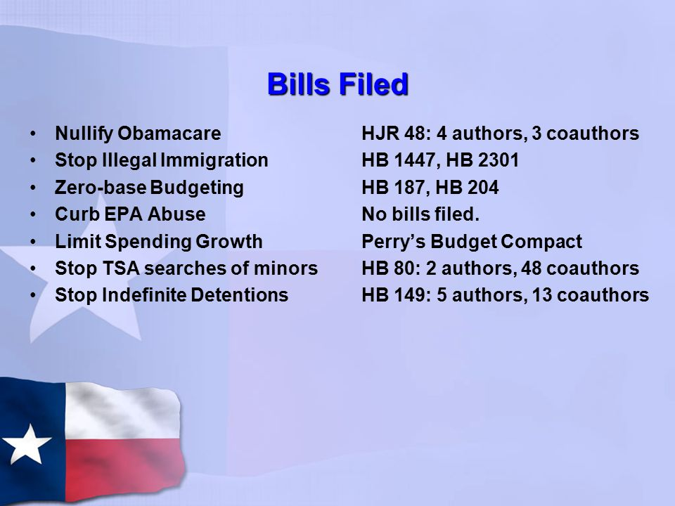 Bills Filed Nullify Obamacare Stop Illegal Immigration Zero-base Budgeting Curb EPA Abuse Limit Spending Growth Stop TSA searches of minors Stop Indefinite Detentions HJR 48: 4 authors, 3 coauthors HB 1447, HB 2301 HB 187, HB 204 No bills filed.