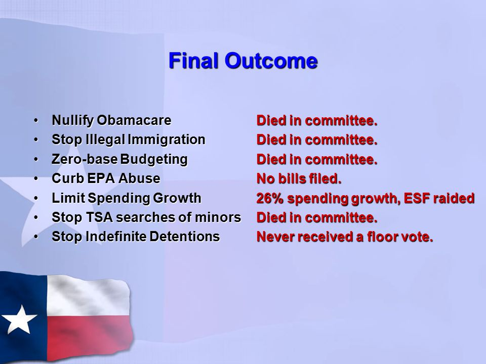 Final Outcome Nullify ObamacareNullify Obamacare Stop Illegal ImmigrationStop Illegal Immigration Zero-base BudgetingZero-base Budgeting Curb EPA AbuseCurb EPA Abuse Limit Spending GrowthLimit Spending Growth Stop TSA searches of minorsStop TSA searches of minors Stop Indefinite DetentionsStop Indefinite Detentions Died in committee.