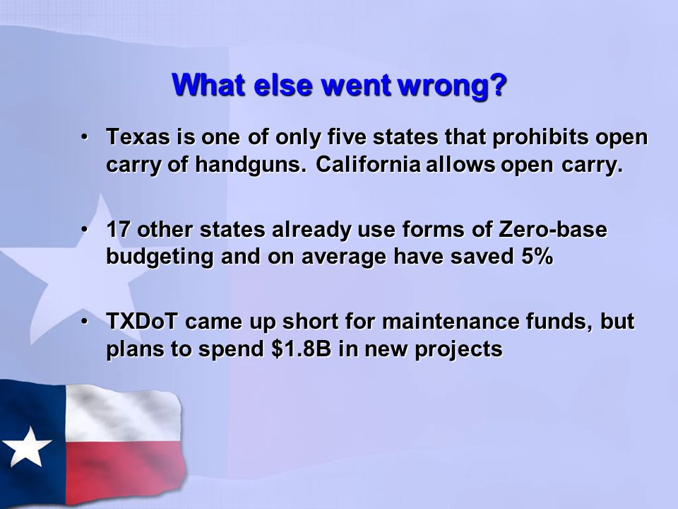 What else went wrong. Texas is one of only five states that prohibits open carry of handguns.