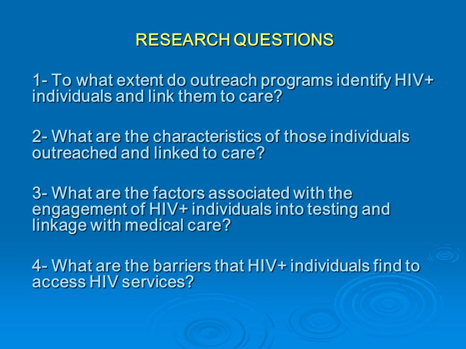 CONTRIBUTIONS Description of a small sample of HIV+ Latino MSM engaging in sexual risk behaviors under the influence of substances.