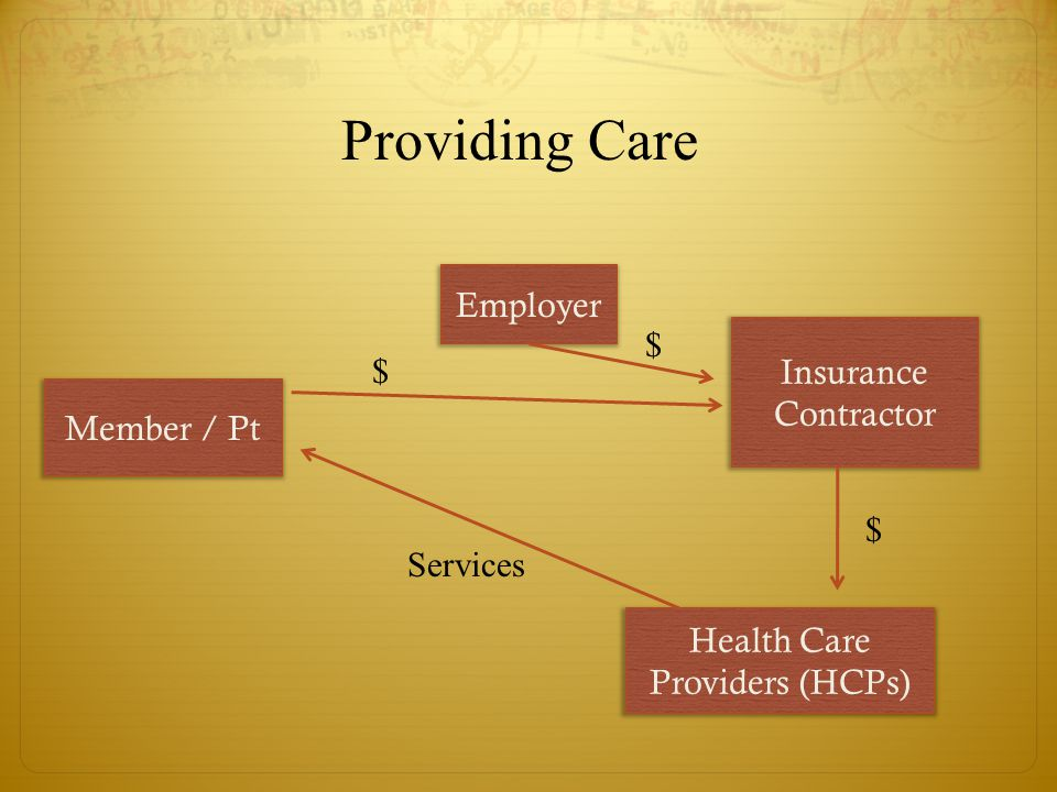 Providing Care Insurance Contractor $ $ Health Care Providers (HCPs) Services Employer $ Member / Pt