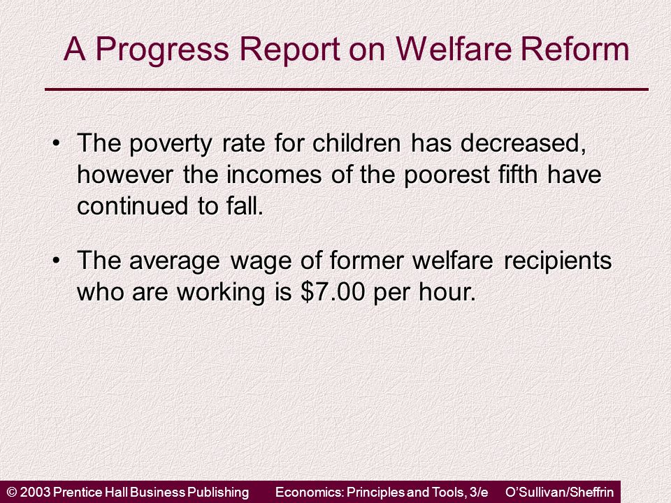 © 2003 Prentice Hall Business PublishingEconomics: Principles and Tools, 3/e O'Sullivan/Sheffrin A Progress Report on Welfare Reform The poverty rate for children has decreased, however the incomes of the poorest fifth have continued to fall.The poverty rate for children has decreased, however the incomes of the poorest fifth have continued to fall.