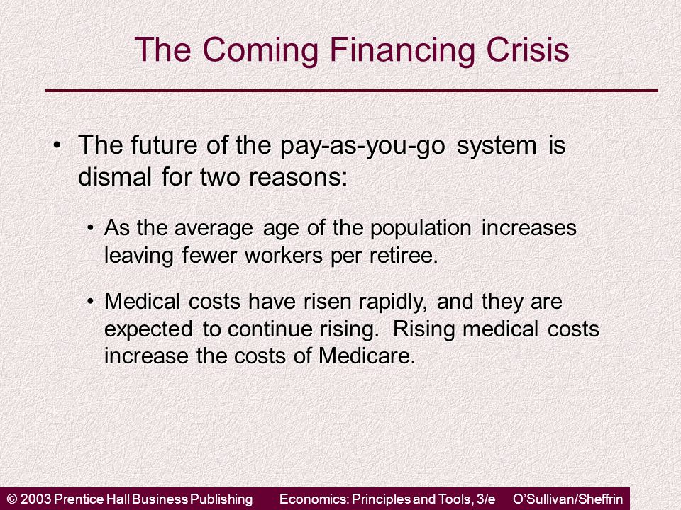 © 2003 Prentice Hall Business PublishingEconomics: Principles and Tools, 3/e O'Sullivan/Sheffrin The Coming Financing Crisis The future of the pay-as-you-go system is dismal for two reasons:The future of the pay-as-you-go system is dismal for two reasons: As the average age of the population increases leaving fewer workers per retiree.As the average age of the population increases leaving fewer workers per retiree.