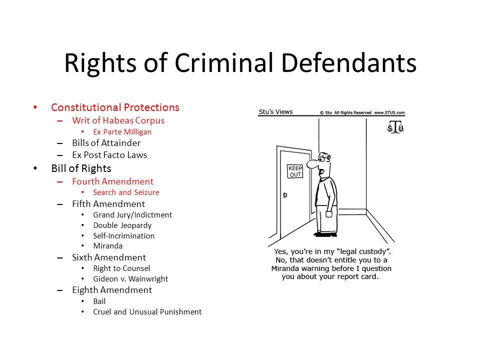 Rights of Criminal Defendants Constitutional Protections – Writ of Habeas Corpus Ex Parte Milligan – Bills of Attainder – Ex Post Facto Laws Bill of R
