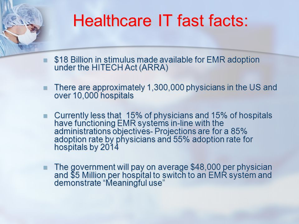 Healthcare IT fast facts: $18 Billion in stimulus made available for EMR adoption under the HITECH Act (ARRA) $18 Billion in stimulus made available f