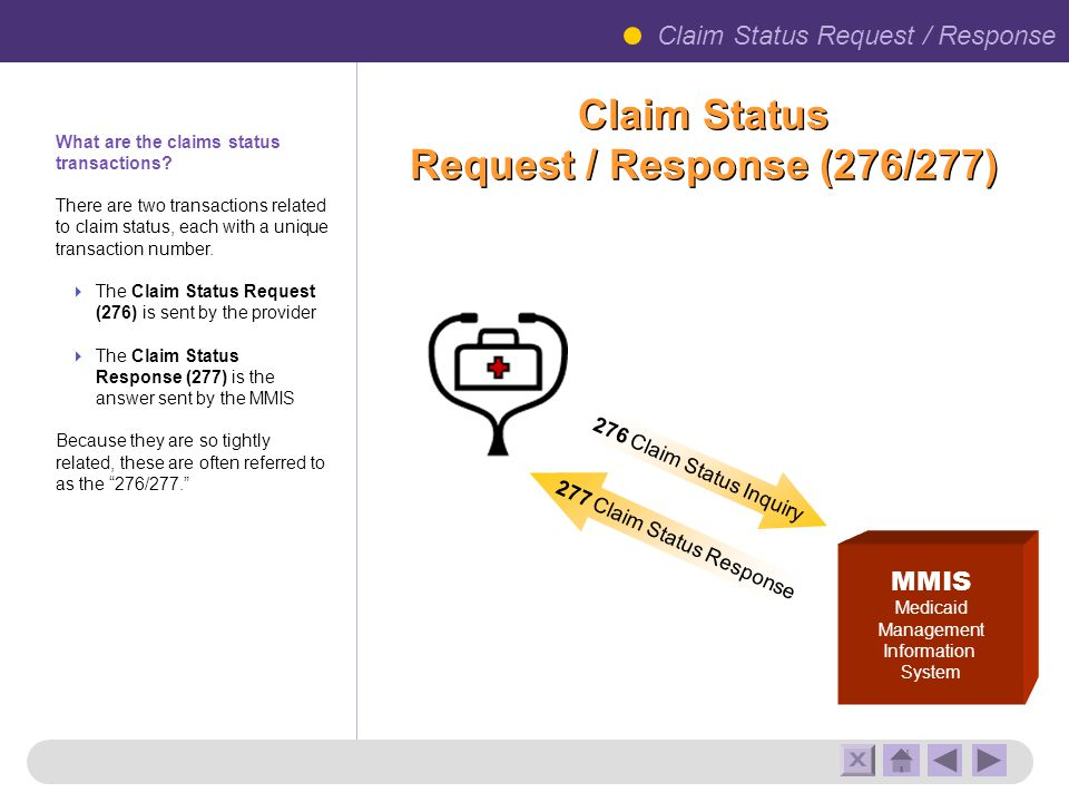 Claim Status Request / Response (276/277) MMIS Medicaid Management Information System 277 Claim Status Response 276 Claim Status Inquiry Claim Status Request / Response What are the claims status transactions.