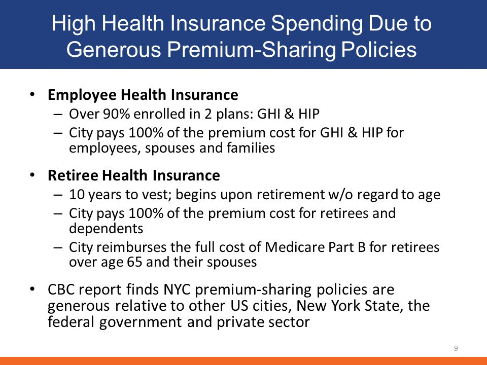 High Health Insurance Spending Due to Generous Premium-Sharing Policies 9 Employee Health Insurance – Over 90% enrolled in 2 plans: GHI & HIP – City p