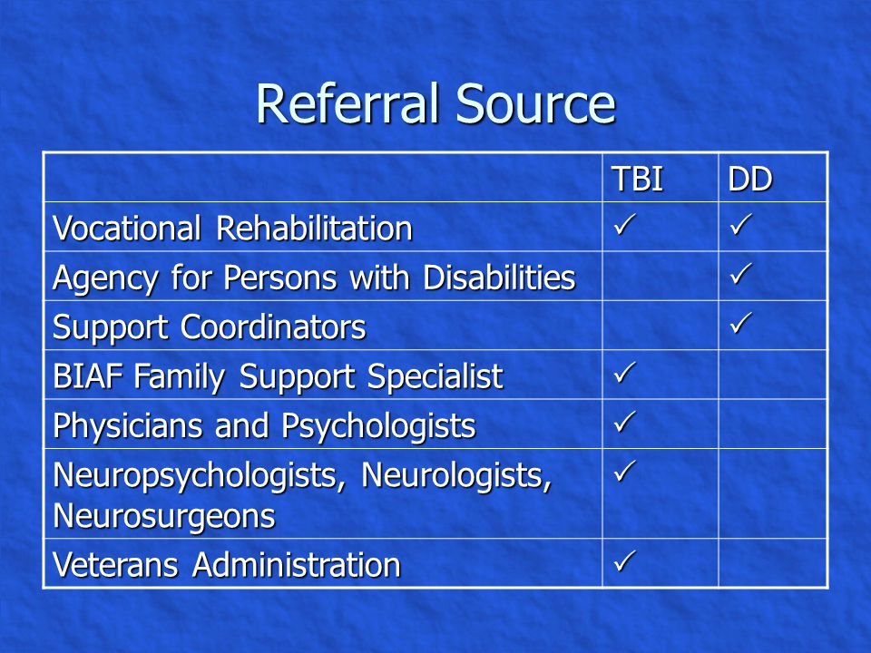 Introduction, Continued The purpose of this presentation is to compare service delivery elements for people who have TBI and those who have DD.