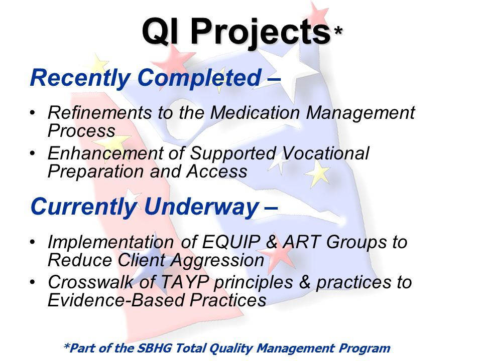 QI Projects * Recently Completed – Refinements to the Medication Management Process Enhancement of Supported Vocational Preparation and Access Currently Underway – Implementation of EQUIP & ART Groups to Reduce Client Aggression Crosswalk of TAYP principles & practices to Evidence-Based Practices *Part of the SBHG Total Quality Management Program