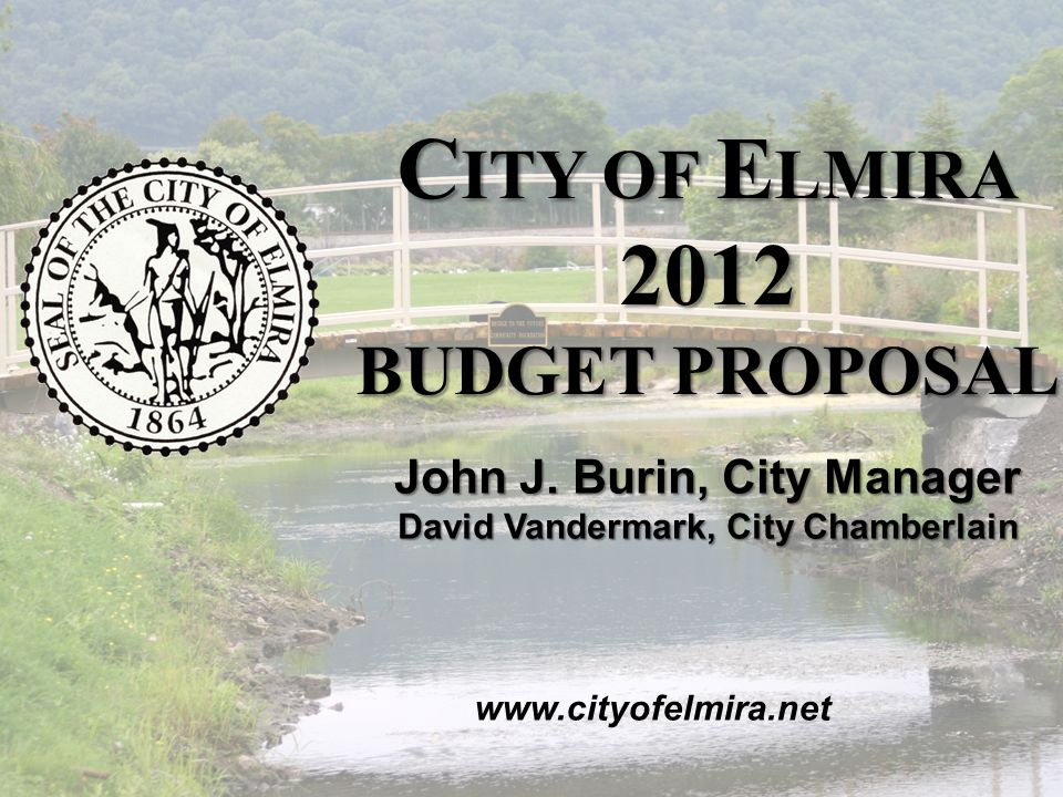 2012 C ITY OF E LMIRA B UDGET P ROPOSAL November 2011 2012 Appropriations by Group
