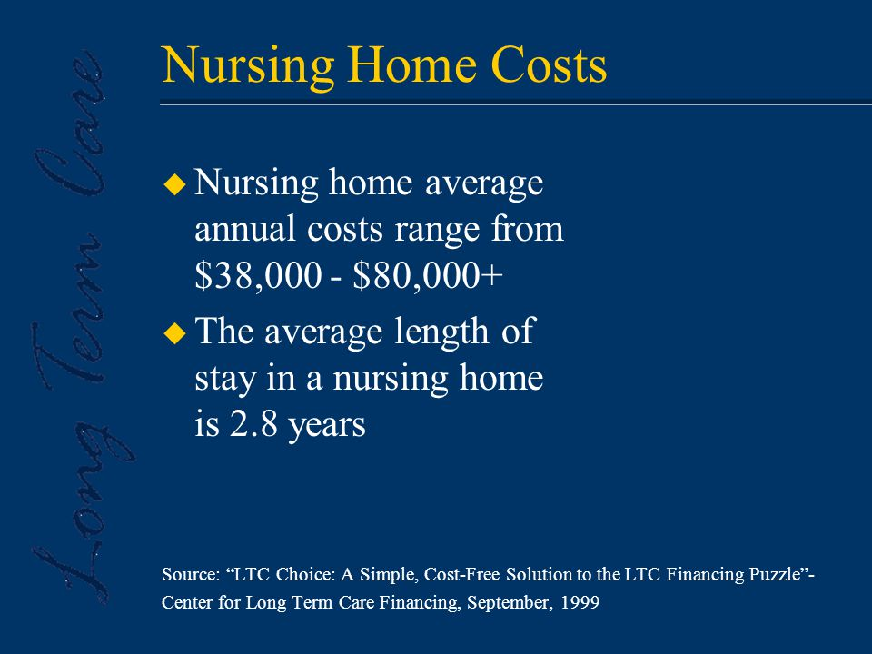 Nursing Home Costs u Nursing home average annual costs range from $38,000 - $80,000+ u The average length of stay in a nursing home is 2.8 years Source: LTC Choice: A Simple, Cost-Free Solution to the LTC Financing Puzzle - Center for Long Term Care Financing, September, 1999