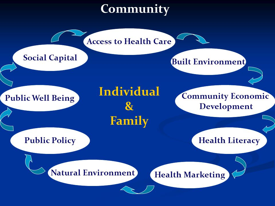 Access to Health Care Built Environment Community Economic Development Health Literacy Health Marketing Natural Environment Public Policy Public Well Being Social Capital Individual & Family Community