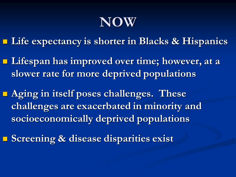 NOW Life expectancy is shorter in Blacks & Hispanics Life expectancy is shorter in Blacks & Hispanics Lifespan has improved over time; however, at a slower rate for more deprived populations Lifespan has improved over time; however, at a slower rate for more deprived populations Aging in itself poses challenges.