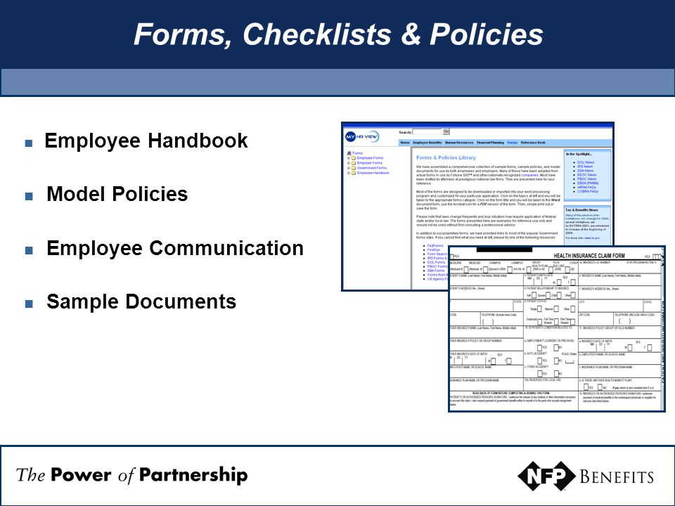 Forms, Checklists & Policies Employee Handbook Model Policies Employee Communication Sample Documents
