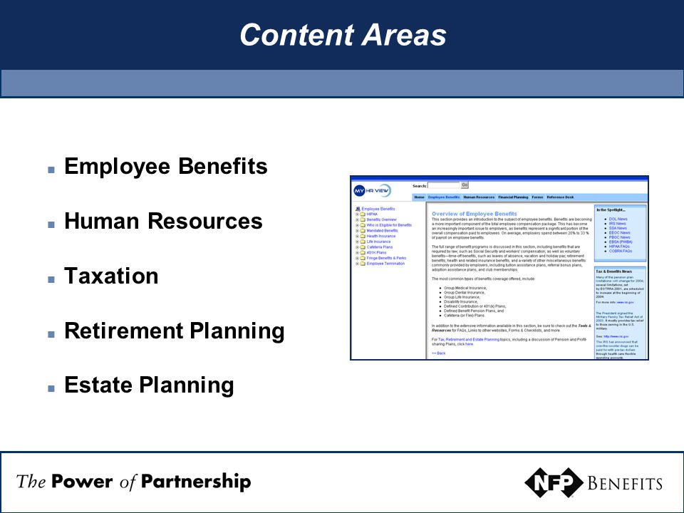 Content Areas Employee Benefits Human Resources Taxation Retirement Planning Estate Planning