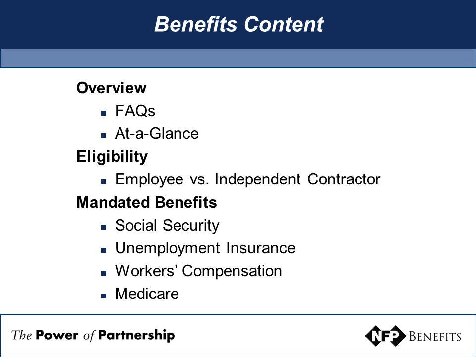 Benefits Content, cont.