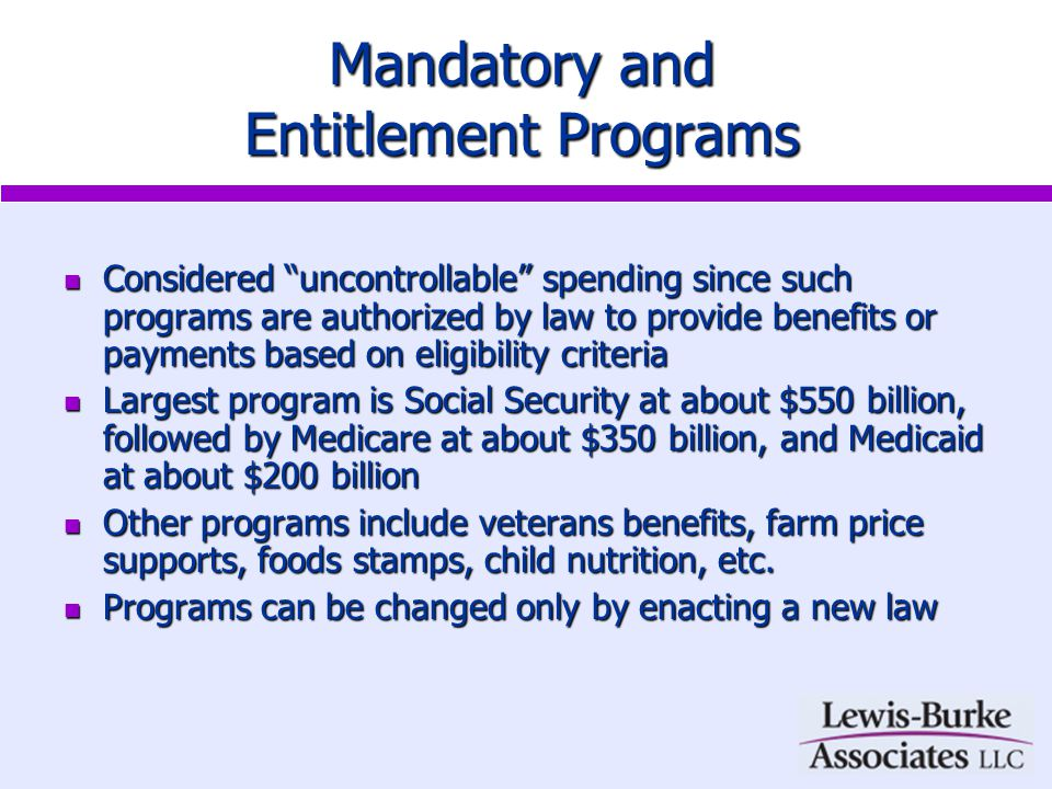 Mandatory and Entitlement Programs Considered uncontrollable spending since such programs are authorized by law to provide benefits or payments based on eligibility criteria Considered uncontrollable spending since such programs are authorized by law to provide benefits or payments based on eligibility criteria Largest program is Social Security at about $550 billion, followed by Medicare at about $350 billion, and Medicaid at about $200 billion Largest program is Social Security at about $550 billion, followed by Medicare at about $350 billion, and Medicaid at about $200 billion Other programs include veterans benefits, farm price supports, foods stamps, child nutrition, etc.