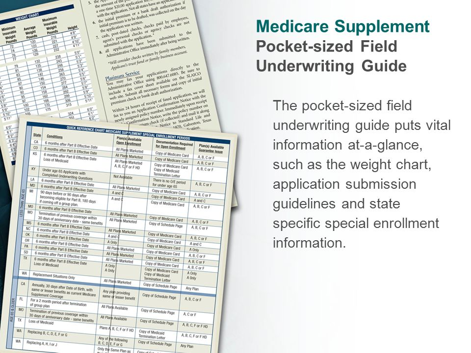 Medicare Supplement Pocket-sized Field Underwriting Guide The pocket-sized field underwriting guide puts vital information at-a-glance, such as the weight chart, application submission guidelines and state specific special enrollment information.