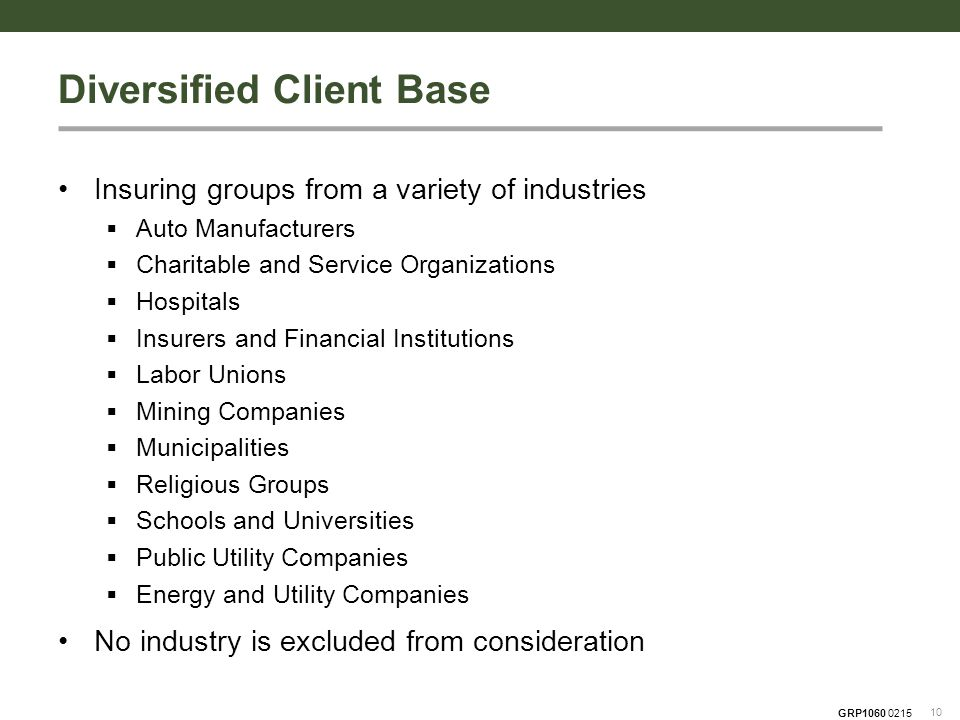 GRP1060 0215 Insuring groups from a variety of industries  Auto Manufacturers  Charitable and Service Organizations  Hospitals  Insurers and Financial Institutions  Labor Unions  Mining Companies  Municipalities  Religious Groups  Schools and Universities  Public Utility Companies  Energy and Utility Companies No industry is excluded from consideration 10 Diversified Client Base