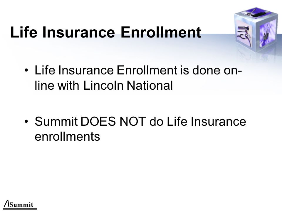 Enrollment Form to Summit Options: –Fax: 480.505.0406 –Email: monica@summit-inc.netmonica@summit-inc.net –On-line enrollment: www.summit-inc.net –Snail Mail: P.