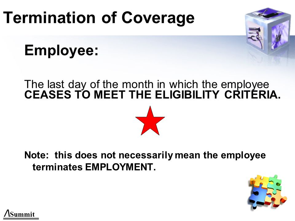 Effective Date of Coverage Employee—1 st of month following date of hire.