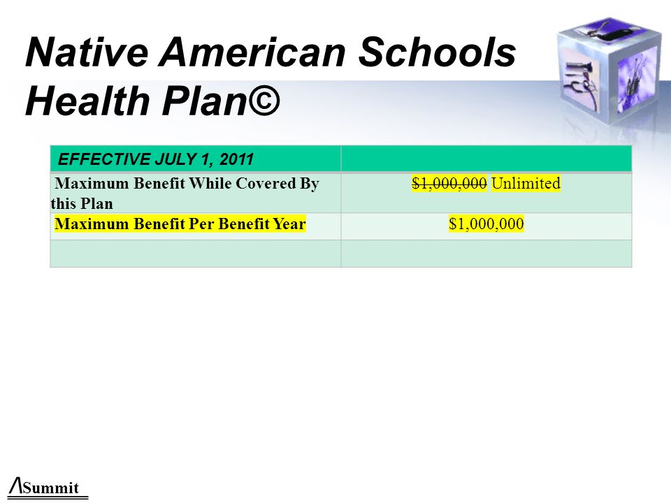Native American Schools Health Plan© EFFECTIVE JULY 1, 2011 Maximum Benefit While Covered By this Plan $1,000,000 Unlimited Maximum Benefit Per Benefit Year$1,000,000 /\ Summit