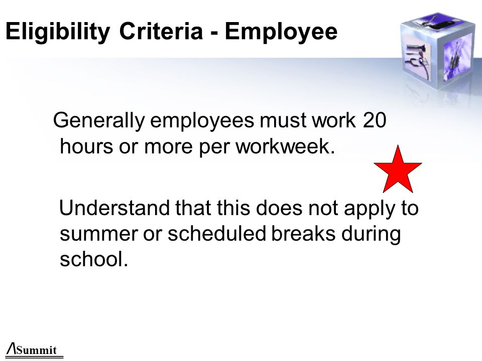 /\ Summit Eligibility Criteria - Employee Generally employees must work 20 hours or more per workweek.
