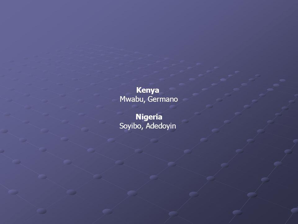 Kenya Mwabu, Germano Nigeria Soyibo, Adedoyin