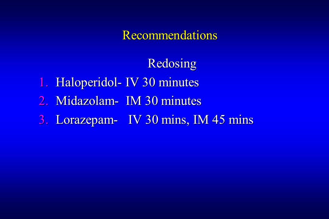 Recommendations Redosing 1.Haloperidol- IV 30 minutes 2.Midazolam- IM 30 minutes 3.Lorazepam- IV 30 mins, IM 45 mins