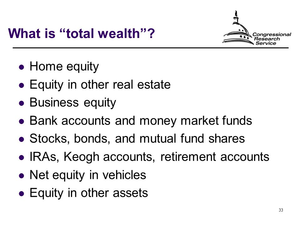33 What is total wealth .