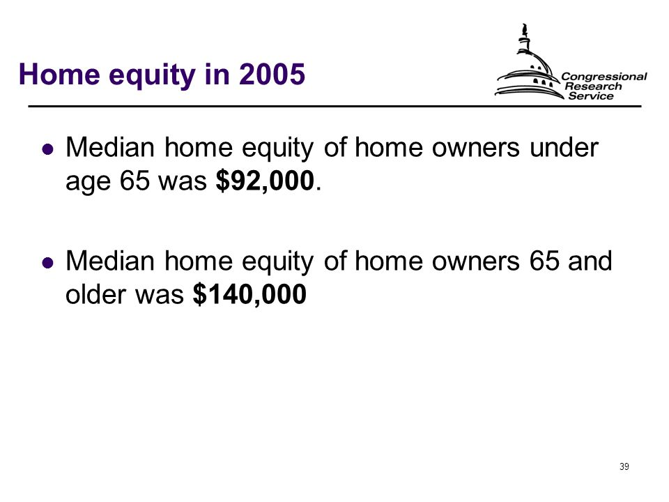 39 Home equity in 2005 Median home equity of home owners under age 65 was $92,000.