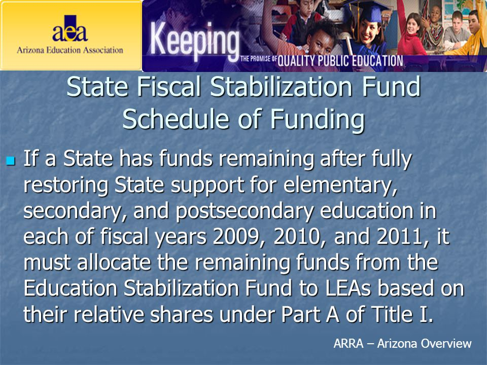 ARRA – Arizona Overview State Fiscal Stabilization Fund Schedule of Funding If a State has funds remaining after fully restoring State support for ele