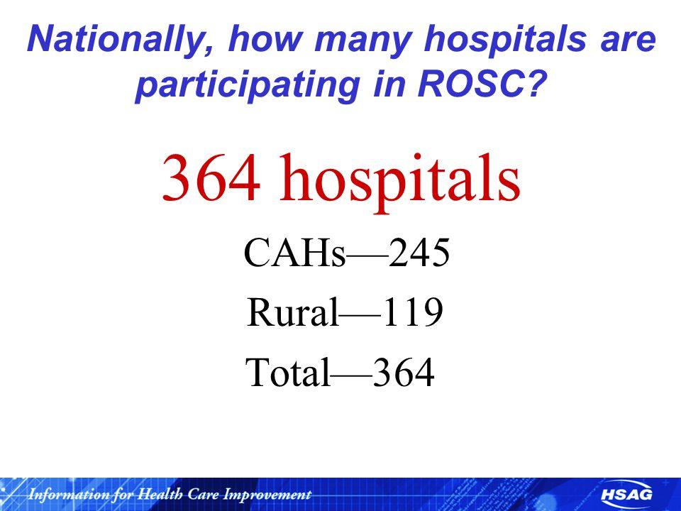 Nationally, how many hospitals are participating in ROSC? 364 hospitals CAHs—245 Rural—119 Total—364