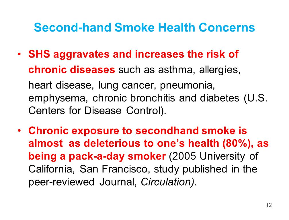 Second-hand Smoke Health Concerns SHS aggravates and increases the risk of chronic diseases such as asthma, allergies, heart disease, lung cancer, pneumonia, emphysema, chronic bronchitis and diabetes (U.S.