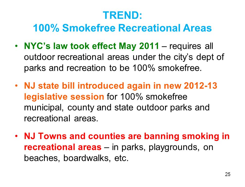 TREND: 100% Smokefree Recreational Areas NYC's law took effect May 2011 – requires all outdoor recreational areas under the city's dept of parks and recreation to be 100% smokefree.