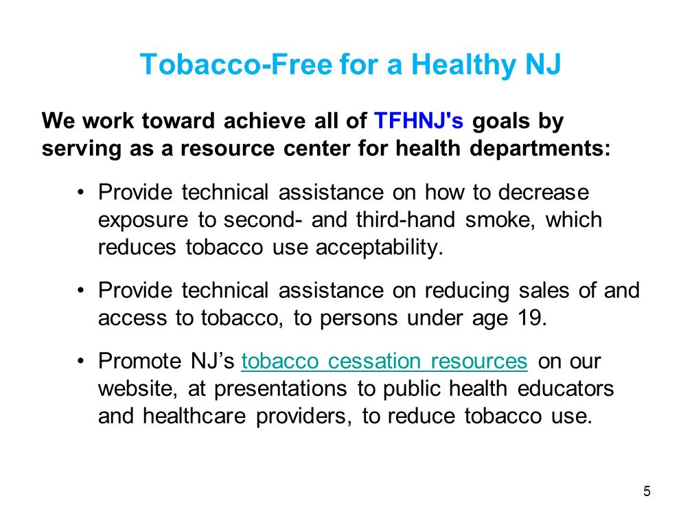 Local Laws Restricting Outdoor Smoking in NJ As per NJSA 26:3D-63, municipalities and counties can enact laws that are equivalent to stronger than the State's Smokefee Air Act.
