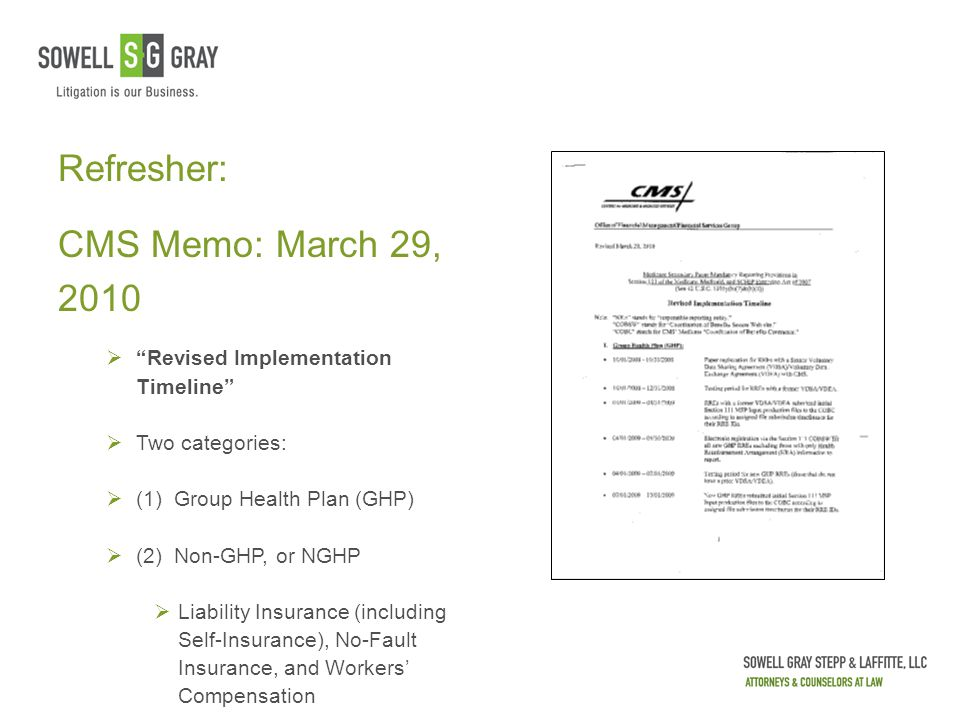 "Refresher: CMS Memo: March 29, 2010  ""Revised Implementation Timeline""  Two categories:  (1) Group Health Plan (GHP)  (2) Non-GHP, or NGHP  Liabi"