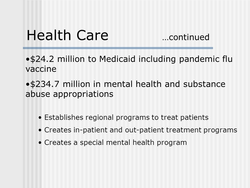 $24.2 million to Medicaid including pandemic flu vaccine $234.7 million in mental health and substance abuse appropriations Establishes regional programs to treat patients Creates in-patient and out-patient treatment programs Creates a special mental health program Health Care …continued