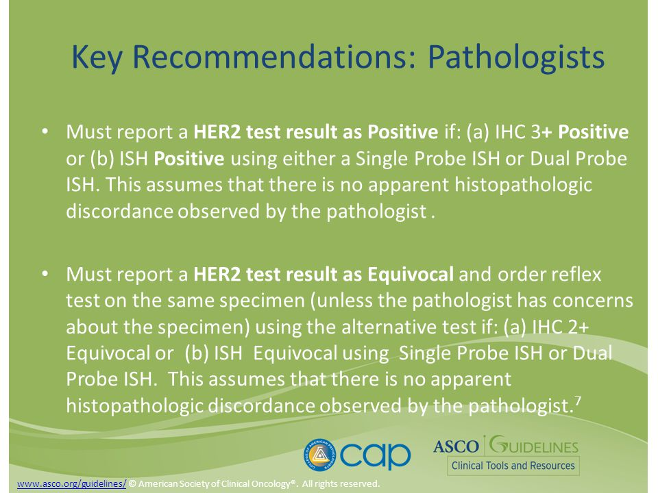 Key Recommendations: Pathologists Must report a HER2 test result as Positive if: (a) IHC 3+ Positive or (b) ISH Positive using either a Single Probe ISH or Dual Probe ISH.