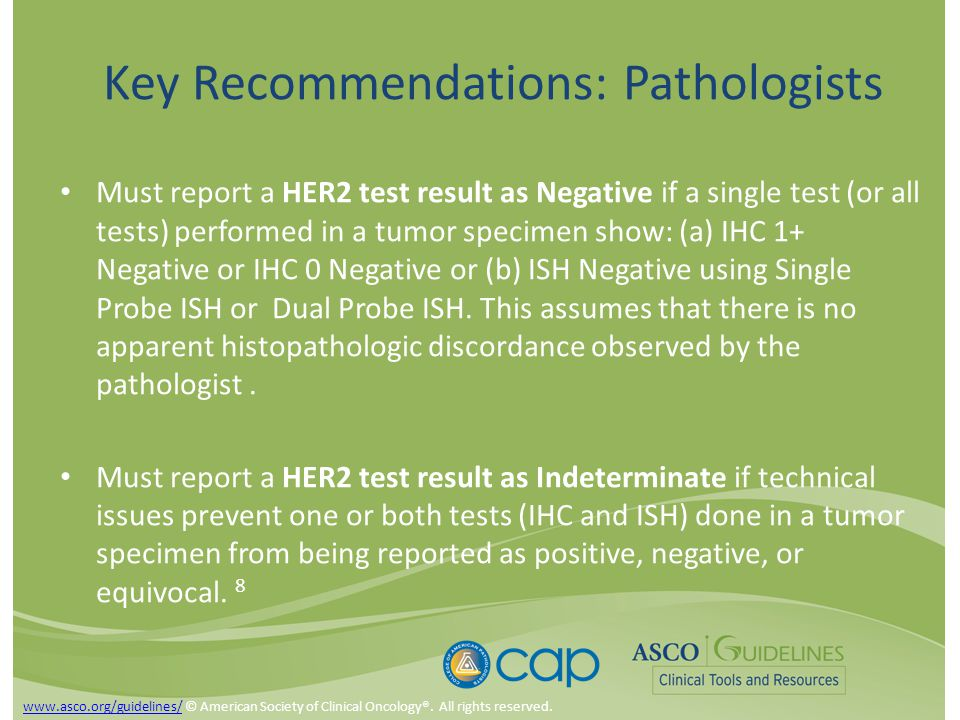 Key Recommendations: Pathologists Must report a HER2 test result as Negative if a single test (or all tests) performed in a tumor specimen show: (a) IHC 1+ Negative or IHC 0 Negative or (b) ISH Negative using Single Probe ISH or Dual Probe ISH.