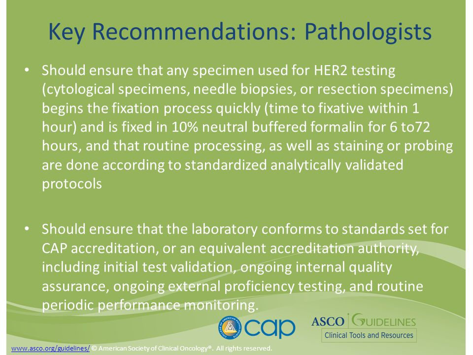 Key Recommendations: Pathologists Should ensure that any specimen used for HER2 testing (cytological specimens, needle biopsies, or resection specimens) begins the fixation process quickly (time to fixative within 1 hour) and is fixed in 10% neutral buffered formalin for 6 to72 hours, and that routine processing, as well as staining or probing are done according to standardized analytically validated protocols Should ensure that the laboratory conforms to standards set for CAP accreditation, or an equivalent accreditation authority, including initial test validation, ongoing internal quality assurance, ongoing external proficiency testing, and routine periodic performance monitoring.