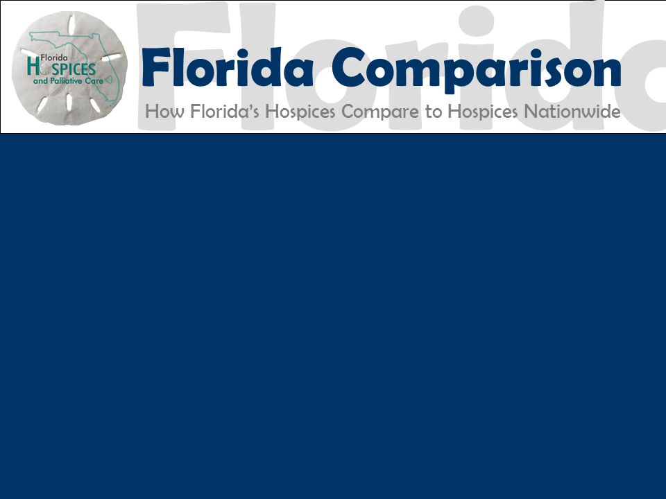 Florida Florida Comparison How Florida's Hospices Compare to Hospices Nationwide FHPC EXCELLENCE ACCOUNTABILITY