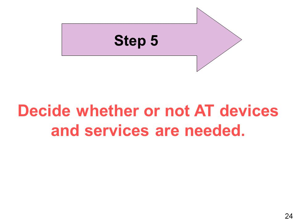 Step 5 Decide whether or not AT devices and services are needed. 24