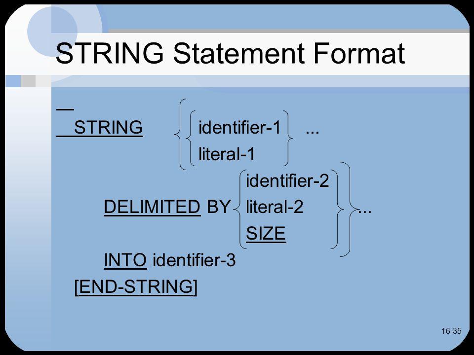 16-35 STRING Statement Format STRINGidentifier-1...