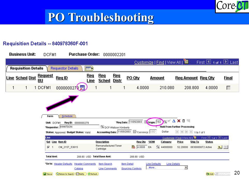 20 PO Troubleshooting