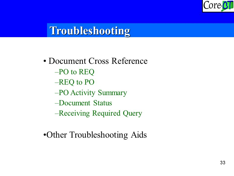 33 Troubleshooting Document Cross Reference –PO to REQ –REQ to PO –PO Activity Summary –Document Status –Receiving Required Query Other Troubleshooting Aids