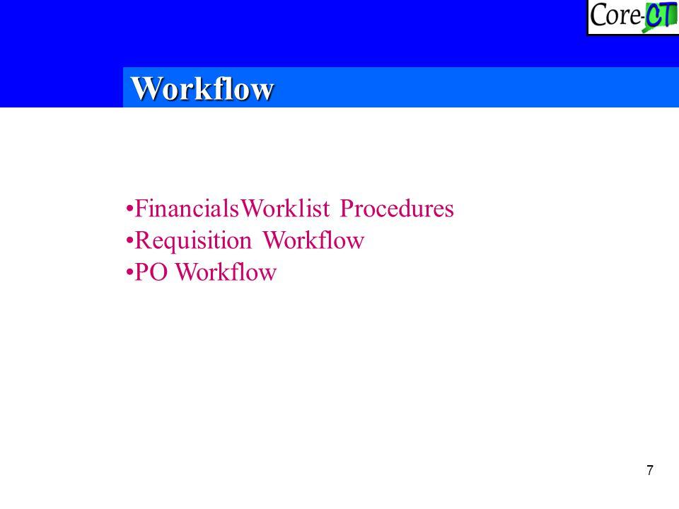 7 FinancialsWorklist Procedures Requisition Workflow PO Workflow Workflow