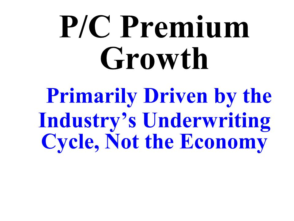 P/C Premium Growth Primarily Driven by the Industry's Underwriting Cycle, Not the Economy